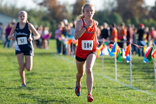 Northeastern's Margaret Carroll runs to a first-place finish in the YAIAA cross country championships at Gettysburg Area High School on Tuesday, October 15, 2019. Carroll won in 18:28.6.