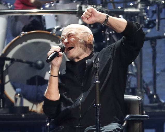 Phil Collins performs during his Not Dead Yet Tour at Talking Stick Resort Arena in Phoenix on Oct. 15, 2019.