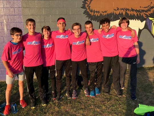 The Cedar Crest boys cross country team celebrates its Lancaster-Lebanon League  championship a few weeks back. Saturday, the Falcons added a second straight district title to their collection.