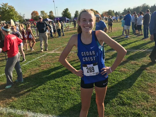 Cedar Crest's Gwyneth Young was all smiles after capturing the L-L girls cross  country championship on Tuesday.