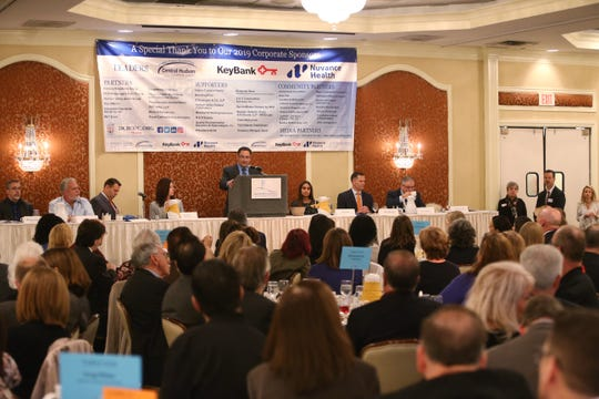 Joseph Ruggiero the Democratic candidate for the 2019 Dutchess County Executives race speaks during the Dutchess County Regional Chamber of Commerce contact breakfast on October 16, 2019.