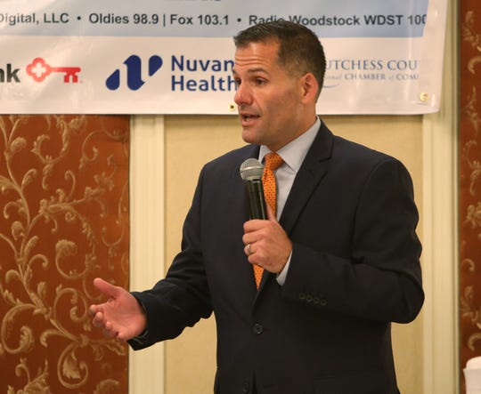 Dutchess County Executive Marc Molinaro speaks during during a candidates forum hosted by the Dutchess County Regional Chamber of Commerce on October 16, 2019.