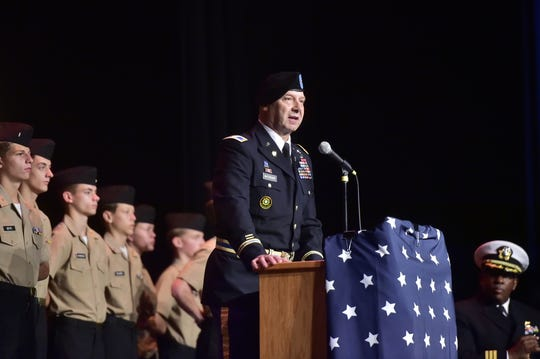 Sen. Doug Mastriano, a retired U.S. Army colonel, speaks at the commissioning ceremony for the Navy Junior Reserve Officers Training Corps at Chambersburg Area Senior High School on Wednesday, Oct. 16, 2019.