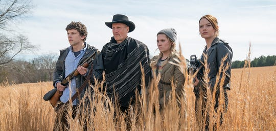 "From left, Jesse Eisenberg, Woody Harrelson, Abigail Breslin and Emma Stone return in ""Zombieland: Double Tap."" The movie is playing at Regal West Manchester, Frank Theatres Queensgate Stadium 13 and R/C Hanover Movies."