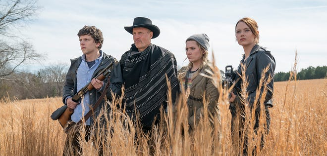 """From left, Jesse Eisenberg, Woody Harrelson, Abigail Breslin and Emma Stone return in """"Zombieland: Double Tap."""" The movie is playing at Regal West Manchester, Frank Theatres Queensgate Stadium 13 and R/C Hanover Movies."""