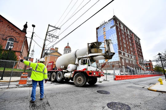 A cement truck is on site for work on the eight floor, according to a worker, at the Yorktowne Hotel in York City, Wednesday, Oct. 16, 2019. Dawn J. Sagert photo