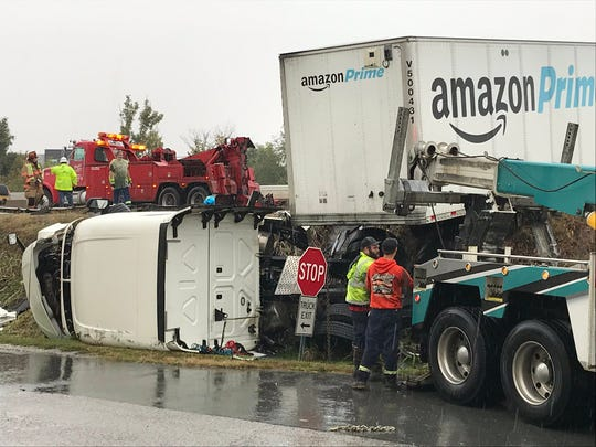 One person was transported to a hospital after a tractor-trailer crashed on I-83 South.