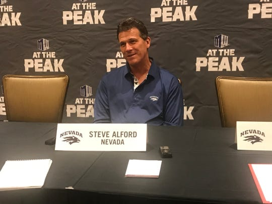 Nevada coach Steve Alford speaks to the Mountain West media on Tuesday.