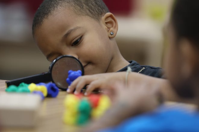 Camryn Sanon studies his plastic bear with a magnifying glass in his pre-k class at Ibero Early Childhood Services.  The students counted their plastic animals and sorted them as part of a classroom learning activity.