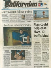The front page of The Californian after Sal Vargas's death.