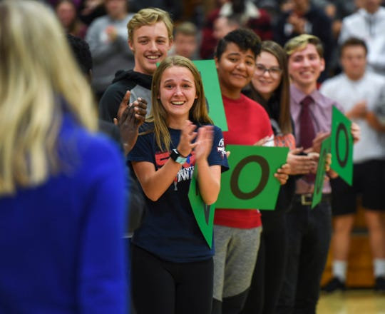 Students cheer for Alison Ter Horst as she is awarded the 2019 Milken Educator Award of $25,000 on Wednesday, Oct. 16, 2019 at Washington High School. The award recognizes educators who are considered exemplary.