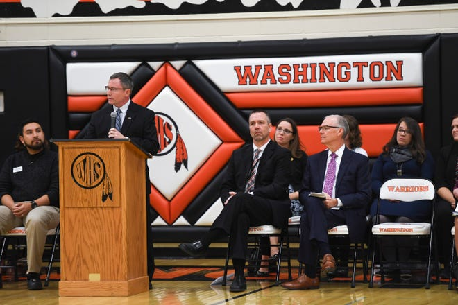 Secretary of Education Ben Jones talks to a crowded assembly during an awards presentation in October at Washington High School. His department, the South Dakota Department of Education, is currently facing scrutiny after lawmakers questioned whether it was doing its constitutional duty.