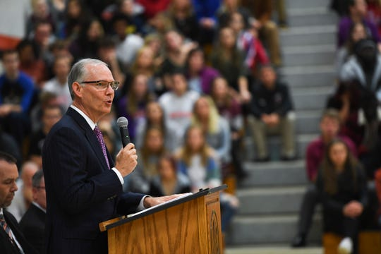 Superintendent Brian Maher talks to a crowded assembly during the 2019 Milken Educator Awards on Wednesday, Oct. 16, 2019 at Washington High School.