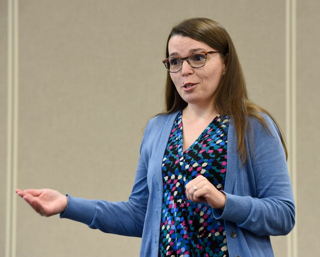 Cristina Rodriquez, founder of Silver Lining Dementia Education, gives a Dementia Friends presentation at the Sartell Community Center on Tuesday, Oct. 15, 2019.