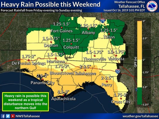 This rainfall map from the National Weather Service says we could see more than two inches of rain from a tropical disturbance churning in the Gulf.
