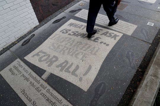 The Civil Rights Walk, embedded in the sidewalk of East Jefferson Street was created by the FSU Master Craftsman Studio.