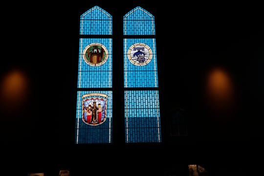 The recently installed FSU Marching Chiefs stained glass window inside Dodd Hall was created by the FSU Master Craftsman Studio.