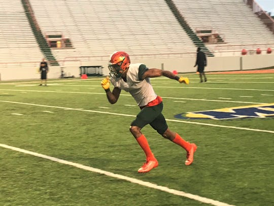 FAMU wide receiver David Manigo runs a route in practice on Tuesday, Oct. 15, 2019. The star receiver is having a breakout year for the Rattlers.