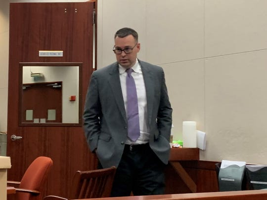 Michael Jones, 36, who is accused of killing Diana Duve on June 20, 2014, enters court during his first-degree murder trial at the Indian River County Courthouse Oct. 15, 2019.