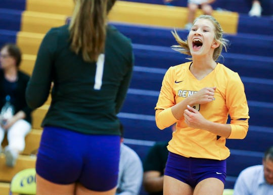Fort Pierce Central's Autumn Raulerson (2) celebrates a point against Vero Beach in a District 7-9A semifinal volleyball match at Fort Pierce Central High School on Tuesday, Oct. 15, 2019, in Fort Pierce.