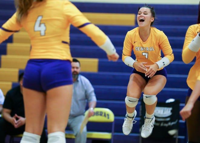 Fort Pierce Central's Riley Wyatt (7) celebrates a point against Vero Beach in a District 7-9A semifinal volleyball match at Fort Pierce Central High School on Tuesday, Oct. 15, 2019, in Fort Pierce.