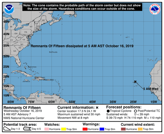 Remnants of former Tropical Depression 15 at 5 a.m. Oct. 16, 2019
