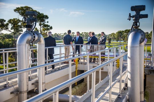 Gov. Ron DeSantis tours the water reclamation facility at the Loxahatchee River District headquarters in Jupiter.