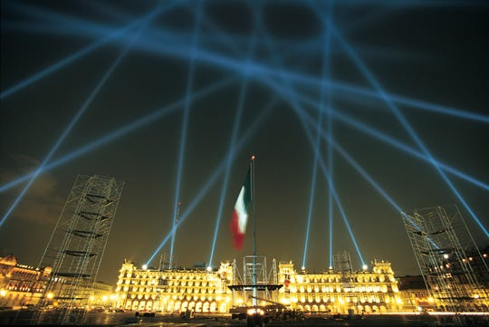 "Multimedia artist Rafael Lozano-Hemmer's first searchlight project, ""Vectorial Elevation,"" was installed in 1999 in Mexico City's Zocalo Square for the millennium celebrations"