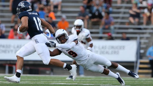 UTEP linebacker Jayson VanHook tries to make a tackle against Rice in 2017. That was the only game he played as he missed the rest of that season to injury.