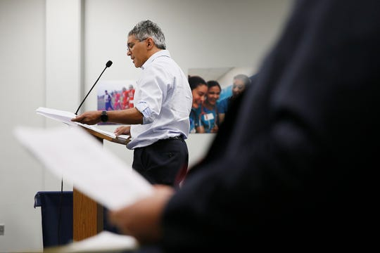 Dr. Prashant Joshi tells the EPISD school board he and his wife have been complaining to the district about the lack of officials during drop-offs and pickups at schools for years during the public comment portion of the board meeting Tuesday, Oct. 15, 2019, at EPISD headquarters in El Paso.