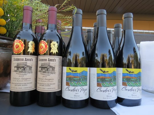Wines from the Cuyama Valley-based labels Sagebrush Annie's and Condor's Hope await opening for a family-style dinner featuring local ingredients at Cuyama Buckhorn.