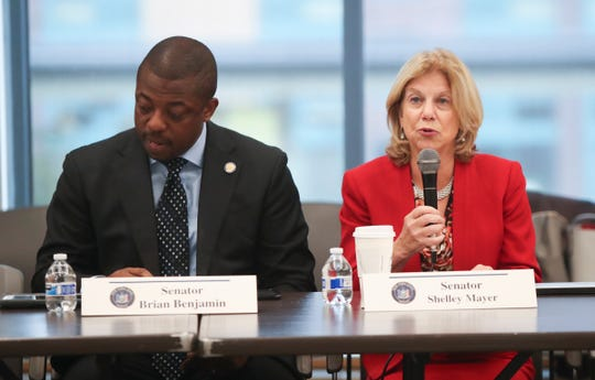 """Senator Shelly Mayer offer opening remarks during the first of five regional roundtables to talk about improving the state's """"foundation aid"""" formula, used to disperse state education aid to school districts across NYS at Yonkers Public Library in Yonkers on Wednesday, October 16, 2019."""
