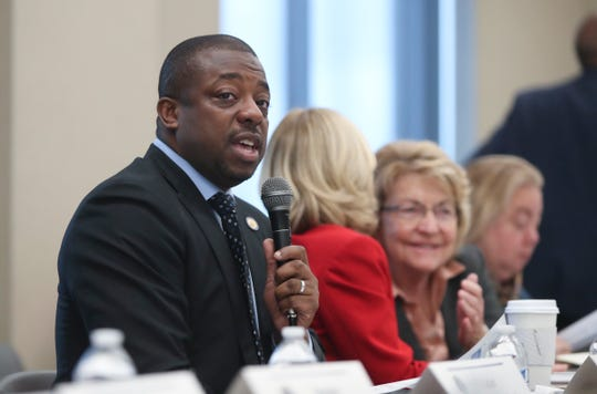 """Senator Brian Benjamin during the first of five regional roundtables to talk about improving the state's """"foundation aid"""" formula, used to disperse state education aid to school districts across NYS at Yonkers Public Library in Yonkers on Wednesday, October 16, 2019."""