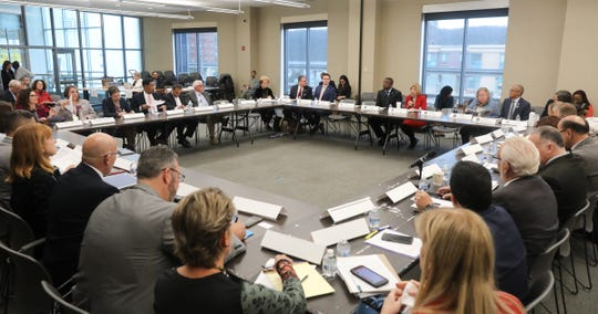 """State officials, teachers and superintendents from across the Hudson Valley attend the first of five regional roundtables to talk about improving the state's """"foundation aid"""" formula, used to disperse state education aid to school districts across NYS at Yonkers Public Library in Yonkers on Wednesday, October 16, 2019."""