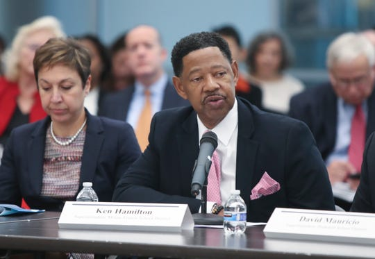 """Ken Hamilton, Superintendent of the Mount Vernon School District offers remarks during the first of five regional roundtables to talk about improving the state's """"foundation aid"""" formula, used to disperse state education aid to school districts across NYS at Yonkers Public Library in Yonkers on Wednesday, October 16, 2019."""
