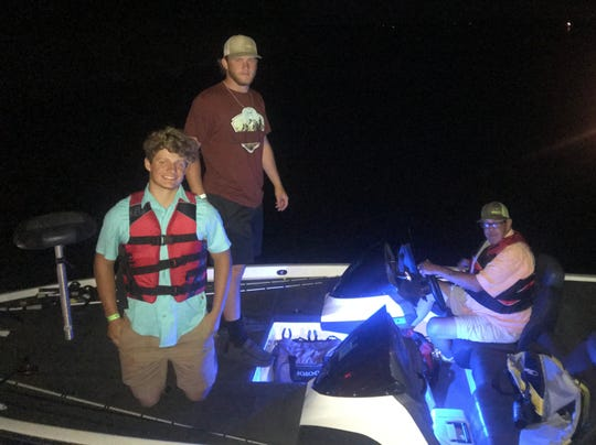 Mike Turner (right) serves as the boat captain for Baylen Faris (top) and Gunnar Valverde while they compete in Texas High School Bass Association tournaments.