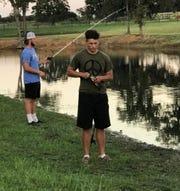 Hirschi senior Gunnar Valverde (front) and Wichita Falls High senior Baylen Faris balance playing football and competing in bass fishing tournaments.