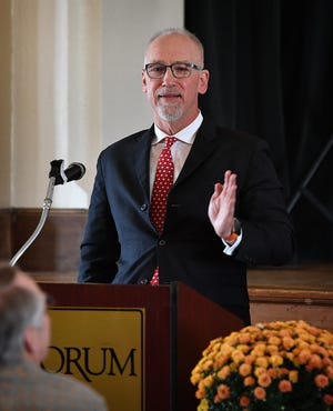 Allen Lazenby Jr. speaks during the 68th Industry Appreciation Luncheon of the Desk and Derrick Club Wednesday at The Forum. Lazenby grew his oil business through his production of oil in Bogata, Columbia.