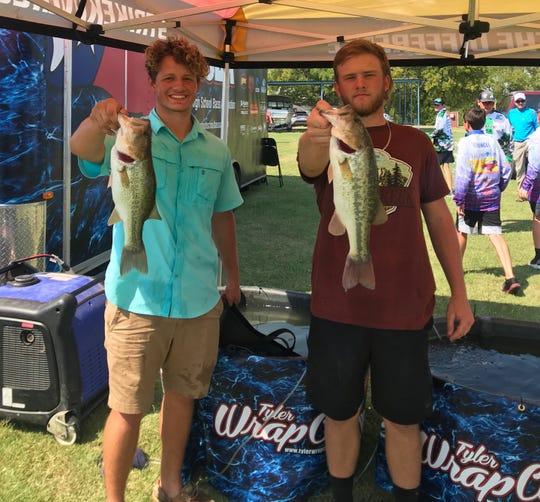 Hirschi senior Gunnar Valverde (left) and Wichita Falls High senior Baylen Faris team up in bass fishing competitions.