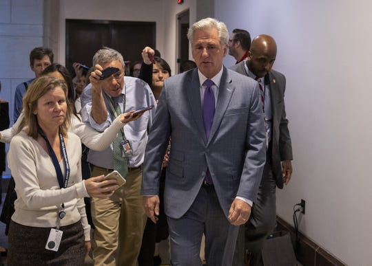 House Minority Leader Kevin McCarthy, R-Calif., says Democrats have prevented him from accessing transcripts from the impeachment inquiry.