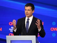 Pete Buttigieg  the mayor of South Bend, Ind. speaks during the Democratic presidential primary debate at Otterbein University.
