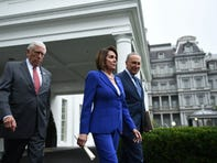 Speaker of the House Nancy Pelosi (C), Senate Minority Leader Chuck Schumer (D-NY) (R) and Representative Steny Hoyer, walk out of the White House after meeting with US President Donald Trump on October 16, 2019. (Photo by Brendan Smialowski / AFP) (Photo by BRENDAN SMIALOWSKI/AFP via Getty Images) ORIG FILE ID: AFP_1LH4AP