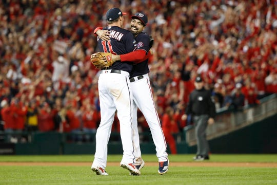 Ryan Zimmerman and Anthony Rendon celebrate after the Washington Nationals won the pennant.
