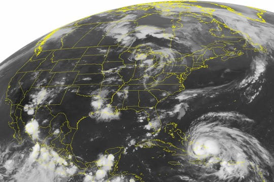 """An August 24, 2011, NOAA satellite image shows Hurricane Irene, a category 2 storm that had winds of up to 100 mph and was located about 400 miles southeast of Nassau, the Bahamas. According to a study published in the journal Geophysical Research Letters, scientists have discovered a real life mash-up of two feared disasters -- hurricanes and earthquakes -- called """"stormquakes.""""  Hurricane Irene generated stormquakes, the study said."""