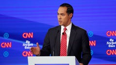Julian Castro speaks during a Democratic presidential primary debate at Otterbein University.
