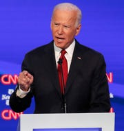 Vice President Joe Biden speaks in a Democratic presidential primary debate at Otterbein University.