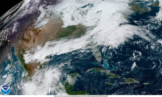 A storm strengthens over the Northeast on Oct. 16.
