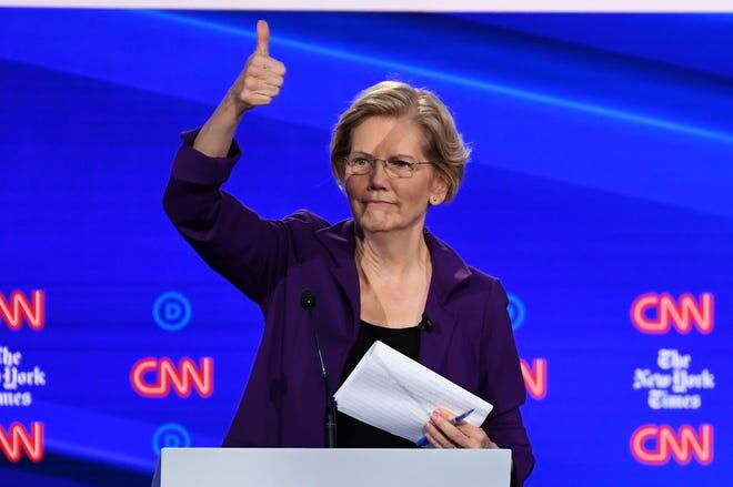 Sen. Elizabeth Warren of Massachusetts at the Democratic debate on Oct. 15, 2019, in Westerville, Ohio.