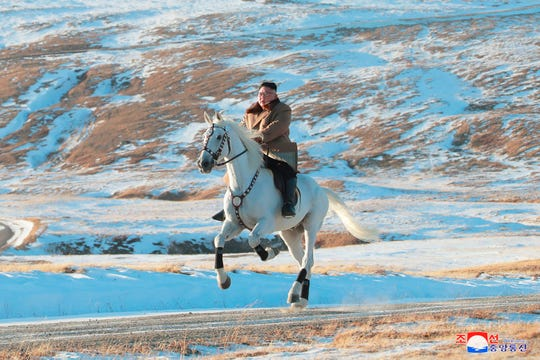 "In this undated photo provided on Wednesday, Oct. 16, 2019, by the North Korean government, North Korean leader Kim Jong Un rides a white horse to climb Mount Paektu, North Korea. Independent journalists were not given access to cover the event depicted in this image distributed by the North Korean government. The content of this image is as provided and cannot be independently verified. Korean language watermark on image as provided by source reads: ""KCNA"" which is the abbreviation for Korean Central News Agency."