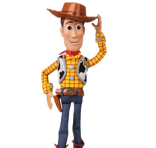 Sheriff Woody is mighty friendly and starts talking when another Toy Story figure is nearby.